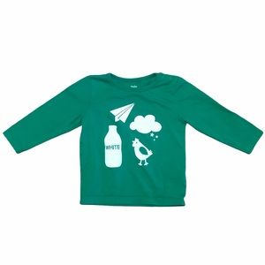 Baby Boden color white green long sleeve shirt